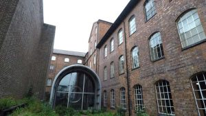the rb211 shed of the derby silk mill museum viewed from the outside